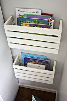 Top 31 Super Smart DIY Storage Solutions For Your Home Improvement - this would be great for P's room. Hanging Storage, Diy Storage, Storage Ideas, Storage Crates, Wall Storage, Creative Storage, Smart Storage, Extra Storage, Book Storage Kids