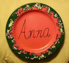 What's in a name? This beautiful plate holds the name of someone dear and all of the words that describe them! This is a custom plate. Part art, part puzzle! You give me the name and you choose the words/ colors!    FOR DECORATIVE PURPOSES ONLY! (i.e. plate holder or hang on wall) http://www.etsy.com/shop/familymosaic $39.00