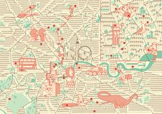 "London-based publisher of maps and tour guides, Herb Lester is the coolest.  They work closely with illustrators to create unique interpretations of each city.  This ""Uncle's Guide to London"" by Deanna Halsall is one of my favorites.  She also created a beautiful map for Beefeater Gin of London's 100 Hidden Gems."