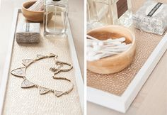 gold lined tray . Diy perfect for a vanity. .!