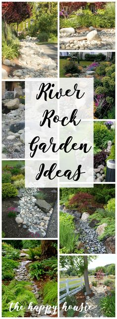 with River Rock amp; Dry River Rock Garden Ideas Landscaping with River Rock amp; Dry River Rock Garden Ideas - The Happy HousieLandscaping with River Rock amp; Dry River Rock Garden Ideas - The Happy Housie Decorative Rock Landscaping, River Rock Landscaping, Landscaping With Rocks, Front Yard Landscaping, Backyard Landscaping, Backyard Ideas, Modern Backyard, River Rock Patio, Dry Riverbed Landscaping