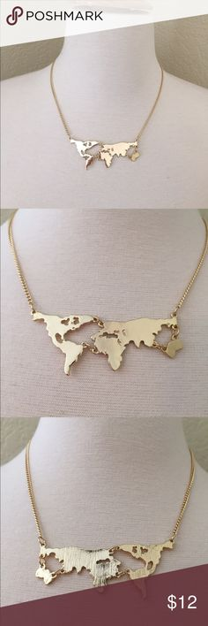 Gold Tone Map Necklace NWT retail gold tone map. Lobster clasp closure. Never worn.   ☁︎Please ask all questions! ☁︎Measurements and modeling available.  ☁︎Smoke free, pet friendly home.  ☁︎Reasonable offers accepted through the offer button.  ☁︎Ask about my custom bundle deals! ☁︎No trades! Jewelry Necklaces