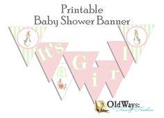 Peter Rabbit Baby Girl Shower Decoration Its a Girl Banner - Instant Download Printable DIY Digital PDF File via Etsy