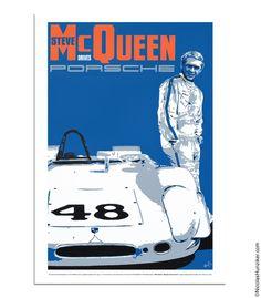 Steve McQueen Drives Porsche - 908 Paddock - Poster