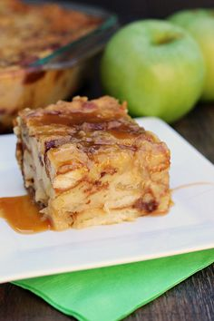 Salted Caramel Apple Bread Pudding. Delicious bread pudding with the flavors of salted caramel and apple throughout.