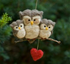 Needle Felted Owl Ornament  Family of Three by scratchcraft, $33.00