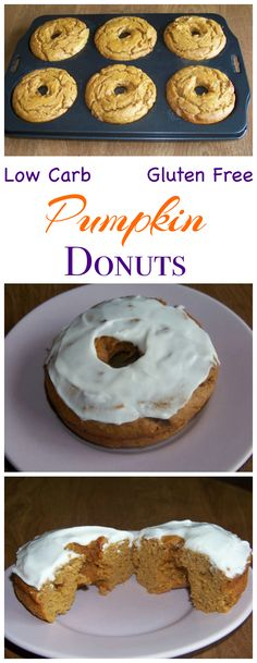 These low carb gluten free pumpkin cake donuts are made with peanut flour and topped with a sweet sugar free icing. Low Carb Yum Keto Banting Breakfast Dessert Recipe -easy Modify for Paleo Low Carb Donut, Low Carb Sweets, Low Carb Desserts, Gluten Free Desserts, Gluten Free Recipes, Low Carb Recipes, Dessert Recipes, Recipes Dinner, Fun Desserts