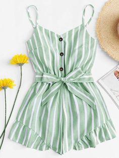Self Tie Waist Striped Jumpsuit -SheIn(Sheinside) Cute Comfy Outfits, Cute Girl Outfits, Cute Summer Outfits, Pretty Outfits, Stylish Outfits, Outfit Summer, Girls Fashion Clothes, Summer Fashion Outfits, Cute Fashion