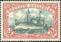 """German East Africa 1905 yacht """"Hohenzollern II"""" 3r [MiNr 39 II A d]  Blackish carmine red and green black.  War printing.  26:17 Perforations.  Type III frame, Type III center"""