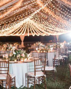 romantic wedding lights, diy wedding decorations for outdoor reception weddinglights Wedding Tent Lighting, Wedding Tent Decorations, Outdoor Wedding Reception, Outside Wedding, Wedding Table, Outdoor Ceremony, Party Wedding, Boho Wedding, Outdoor Wedding Lights