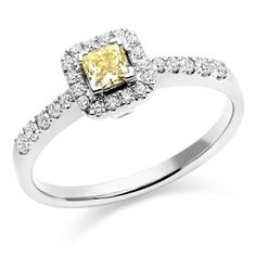 Canery yellow centre diamond cluster ring