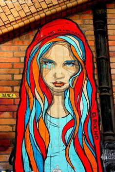 World street art. Red with light blue always pops.