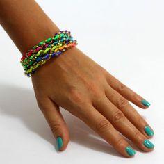 Neon Kumihimo Bracelet $76