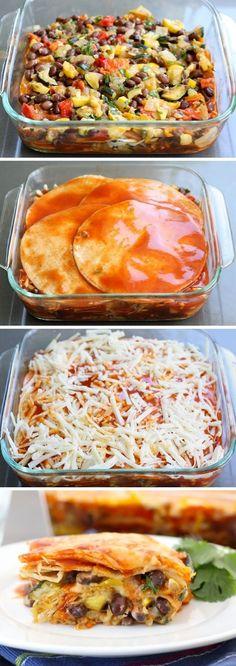 Roasted Vegetable Stacked Enchiladas