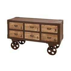 Beech wood console table with numbered drawers. Love the film style reels being used as wheels!