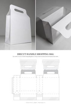 Diecut Handle Shopping Bag – FREE resource for structural packaging design dielines