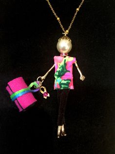 French doll pendant ready for yoga with breast cancer awareness ribbon (other charms available).