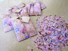 25 Flower Sprinkle Mini Pockets with Confetti Mix (Lilac Wedding Theme, Purple Wedding Theme, Summer Wedding Ideas) $50