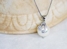 ON SALE Heart Pearl Necklace Single Pearl by Jewellery4Her on Etsy