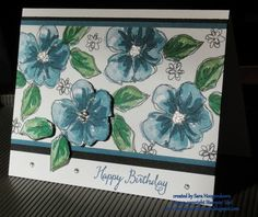 I created this card for my August stamp a stack.  I have to say this set would be perfect to make your own DSP.  :) For more pics visit me at [url=http://simplysarastampin.blogspot.com/2016/08/stampin-up-penned-painted-birthday.html]Penned & Painted Birthday[/url].