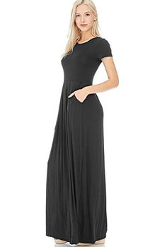 12-Ami-Reese-Short-Sleeve-Pleated-Pocket-Maxi-Dress-Made-in-USA-S-3X Maxi Dresses, Dress Outfits, Casual Dresses, Dresses For Work, Affordable Dresses, Sleeveless Tunic, Dress Making, Spandex, Pocket