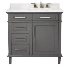 Home Decorators Collection Sonoma 36 In W X 22 D Bath Vanity Dark Charcoal With Natural Marble Top Grey White