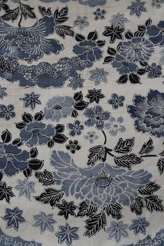 'Aoyama no Hana' Obi Japanese Things, Spring Blossom, Blue Mountain, Hana, A Table, Texture, Antiques, Flowers, Pattern