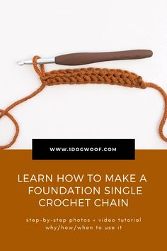 How to Make a Foundation Single Crochet Chain - Video Tutorial - - Learn how to make a foundation single crochet stitch with step by step pictures, and how to use it in new & existing patterns. Bobble Stitch Crochet, Crochet Stitches Free, Crochet Stitches For Beginners, Crochet Chain, Single Crochet Stitch, Crochet Videos, Crochet Basics, Crochet Patterns, How To Crochet A Scarf