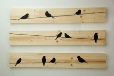 Décoration murale en bois Birds on a Wire 3 pces par HomeFrosting