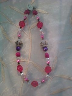 Handmade;+acrylic,+glass,+nugget,+and+crystal+beads.+Lobster+clasp.+Teen/Child+necklace.