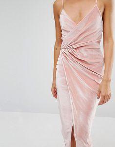 Image 3 ofBoohoo Velvet Strappy Wrap Midi Dress