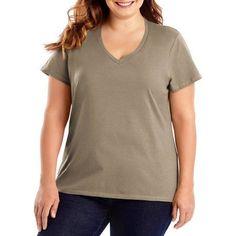 Hanes Women's Plus-Size Lightweight Short Sleeve V-neck, Size: 2XL, Brown