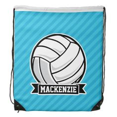 Volleyball; Sky Blue Stripes Drawstring Backpack #drawstring #backpack