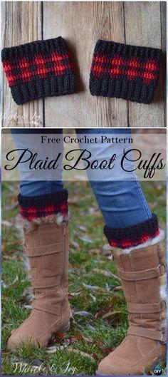 Crochet Plaid Boot Cuffs Free Pattern - Crochet Boot Cuffs Free Patterns