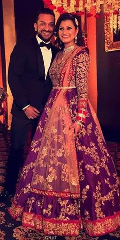 Real Couple-Bridal couture by Shyamal & Bhumika Indian Bridal Lehenga, Indian Bridal Fashion, Indian Bridal Wear, Asian Bridal, Bride Indian, Indian Weddings, Punjabi Fashion, Ethnic Fashion, Indian Attire