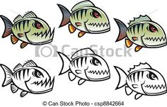 EPS Vector of Angry cartoon piranha fish in three variations ...