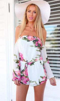 2016 Fashion macaquinho Jumpsuit Women Sexy Long Sleeve Playsuit Bodysuit Flower Floral Print Jumpsuits overalls for women Dresses For Teens Wedding, Sexy Summer Dresses, Summer Outfit, Evening Dresses, Long Sleeve Playsuit, Bag Women, Vintage Jumpsuit, Jumpsuits For Girls, Vintage Dresses