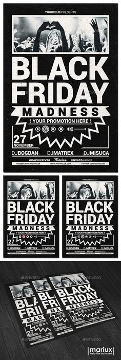 Black Fridays Flyer Template Flyer template, Black friday and - black and white flyer template