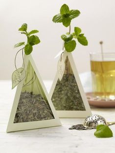 Tea Pyramids: Filled with loose tea leaves & topped with fresh mint. An effective clever use of the tea as colour. By using transparent sides the tea becomes integrated into the design making for a simple effective and intriguing package. Cool Packaging, Tea Packaging, Brand Packaging, Packaging Design, Japanese Packaging, Tea Brands, Diy Gift Box, Gift Boxes, Design Poster