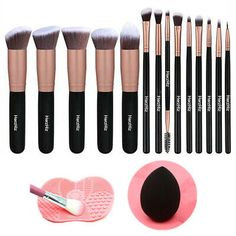 PREMIUM SYNTHETIC MAKEUP BRUSHES: Made with soft and dense synthetic fibers to provide a high definition finish with liquid, powders or cream foundation without any absorption of product and no shedding. Makeup Kit, Makeup Brush Set, Makeup Tools, Powder Foundation, Makeup Foundation, Kallax, Eco Friendly Makeup, Brush Cleanser, Ikea