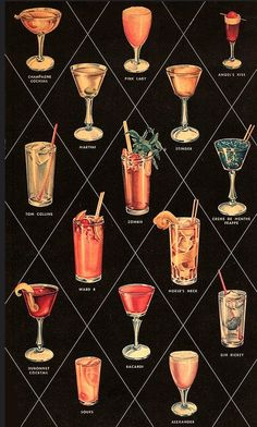 Mid century cocktail menu from Willard's of Los Angeles Cocktails For Two, Vintage Cocktails, Tea Cocktails, Drink Menu, Bar Drinks, Alcoholic Drinks, Martini, Cocktail Images, Cocktail Illustration