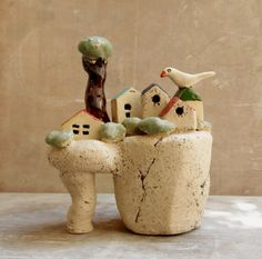 Ceramic sculpture  ceramic miniature houses on a cliff  by ednapio, $42.00
