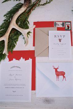 winter wedding invitations - photo by Nicole Colwell Photography http://ruffledblog.com/evergreen-winter-wedding-dress