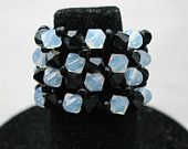 Black and White Checkered Swarovski Crystal Drama Ring