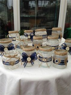 Shabby chic/vintage wedding decorated glass jar tea light holders/favours x 15 Jam Jar Crafts, Crafts With Glass Jars, Bottle Crafts, Mason Jars, Bottles And Jars, Candle Jars, Jam Jar Candles, Vasos Vintage, Wedding Jars