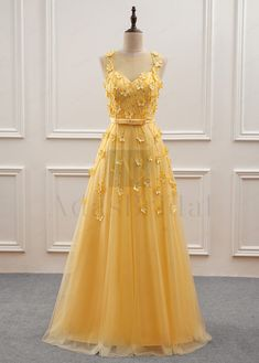 Buy discount Gorgeous Tulle Jewel Neckline A-Line Prom Dress With Beadings & Handmade Flowers at dressilyme.com
