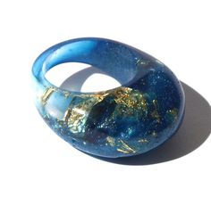 Resin Ring, Madeira Blue Ring, Gold Leaf Ring, 2015 Spring Jewelry, Ring Trends, Trending Jewelry, Modern Statement Rings, ResinHeavenUSA by ResinHeavenUSA on Etsy