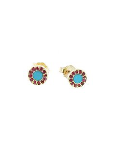 Ruby and Turquoise Inlay Circle Studs