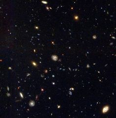 Hubble Deep Field South In the autumn of 1998, scientists trained the Hubble Space Telescope on the furthest reaches of space in the southern hemisphere. Hundreds of photographs were taken and composed into this final image, an astonishing glimpse into the universe's past. Since light takes many, many years to reach us from distant stars, the galaxies captured in the picture are at the very early stages of the universe's evolution.