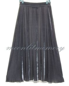 Gray silk-blend velvet long bias-cut maxi skirt with subtly curved hemline. From Soft Surroundings. Offered by moonlitmemory on eBay.